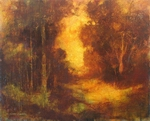 image of landscape oil painting Adrienne's Wood by David Ladmore