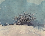 image of watercolor landscape painting Dallas Road Snow #2 by David Ladmore