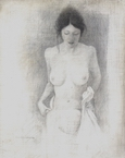 image of nude silverpoint drawing Figure Study #6 by David Ladmore