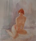 image of watercolor nude Figure Study #10 by David Ladmore