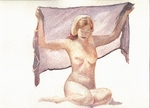 image of watercolor nude Figure With Veil by David Ladmore