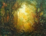 image of landscape oil painting Forest Light 16 by David Ladmore