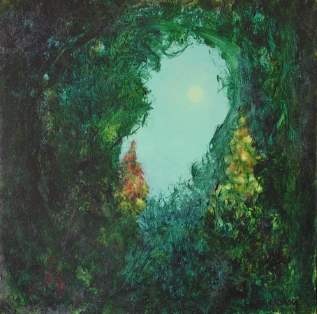 image of oil painting Moon Garden by Laurie Ladmore