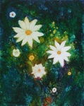 image of floral oil painting Night Flowers #4 by Laurie Ladmore