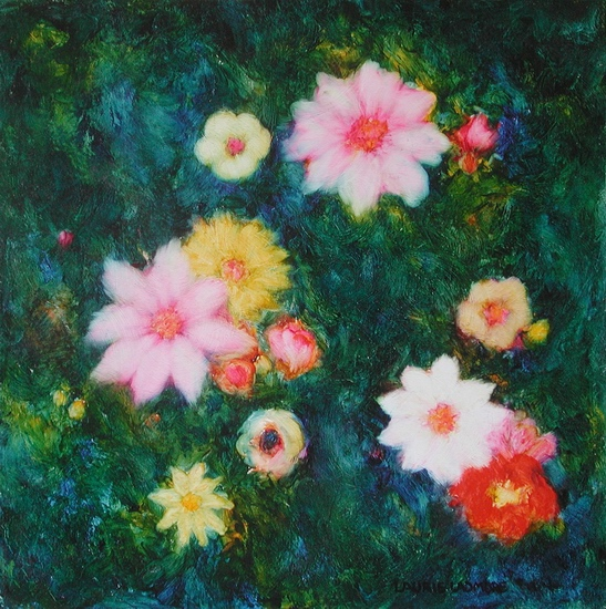 image of floral oil painting Night Flowers #6 by Laurie Ladmore