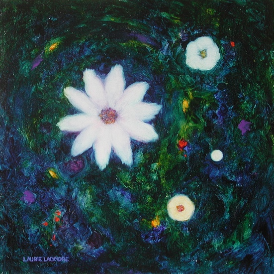 image of floral oil painting Night Flowers #7 by Laurie Ladmore