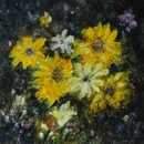 image of floral oil painting Night Flowers by Laurie Ladmore