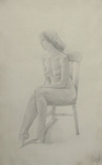 image of nude silverpoint drawing Nude on Rocking Chair #3 by David Ladmore