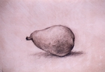 image of still-life chalk drawing Pear II by David Ladmore