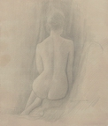 image of nude silverpoint drawing Study for Seated Nude #4 by David Ladmore