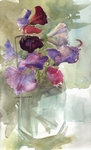 image of floral watercolor painting Sweetpeas III by David Ladmore